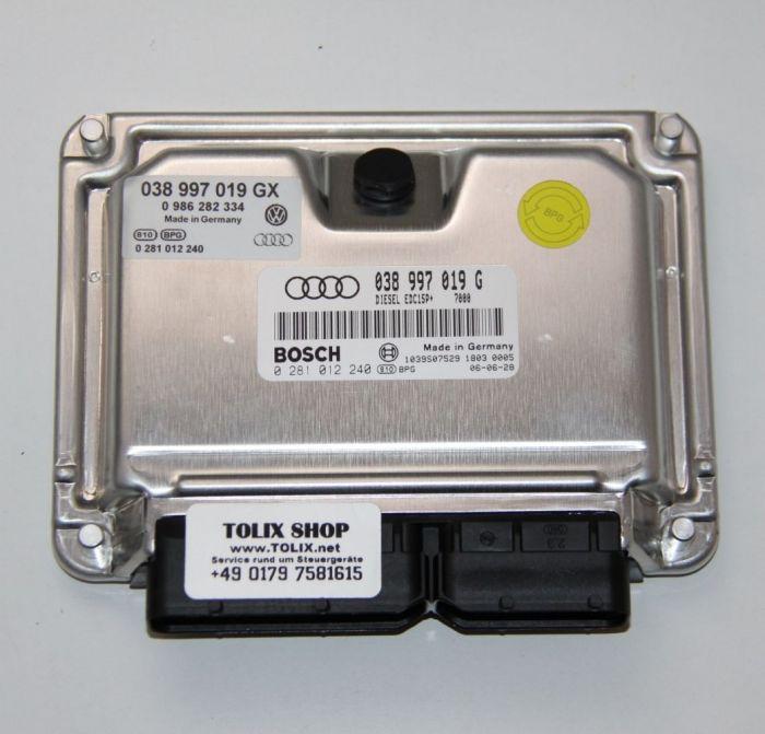 Audi A4 / A4 Quattro 1.9 TDI Motorsteuergerät 038997019G 038 997 019 G 038997019GX 0261012240 0986282334 ECU